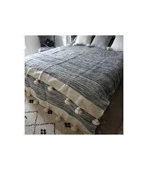 couverture coton bio couverture marocaine crème zébrée en gris 50 laine bio et 50 coton