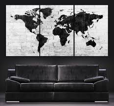 World Map Canvas by Large Wall Art World Map Canvas Print Contemporary 3 Panel