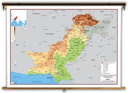 Lat Long Map Pakistan Physical Educational Wall Map From Academia Maps