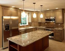 Functional Kitchen Ideas Rectangular Marble Counter Top Brown Varnished Wooden Kitchen