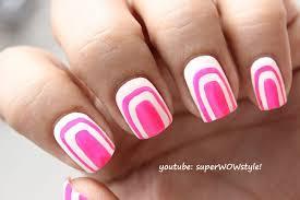 cute pink u0026 white nail art without using tools no tools nail