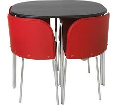 Buy Hygena Amparo Black Dining Table   Chairs Red At Argosco - Black dining table for 4