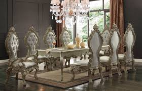 9 piece homey design hd 13012 royal palace dining set in champagne