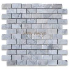 carrara white 1x2 medium brick mosaic tile polished 9 99 sq ft 8mm