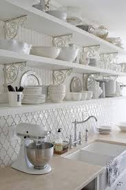 Kitchen Shelving Moroccan Tile Backsplash Ideas White Kitchen Open Shelves With