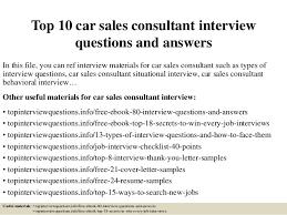 Car Sales Consultant Job Description Resume by Top 10 Car Sales Consultant Interview Questions And Answers 1 638 Jpg Cb U003d1426792306