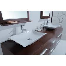 Cheap Bathroom Vanities With Tops by Calliope 72 Inch Modern Double Vessel Sink Vanity Iron Wood Finish
