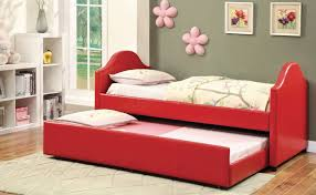 bedroom red modern narrow daybed with trundle for kids daybeds