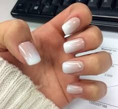 french fade white tip gel nails with gem nails pinterest
