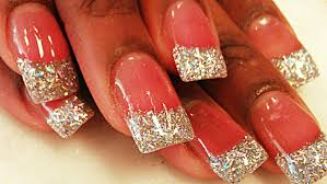 how to silver glitter acrylic nails youtube