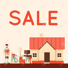 sale items preparing garage flat design illustration sale items preparing garage flat design illustration stock vector