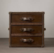mayfair steamer cube with drawers in vintage cigar leather from