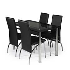 MODERNIQUE Glass Dining Table And  Chairs Set Table Size  Cm - Black dining table for 4