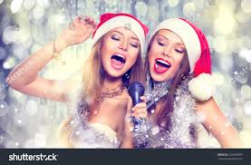 christmas party karaoke beauty girls santa stock photo 229268959