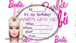 Birthday Invitation Cards Models Barbie Birthday Invitations Neepic Com