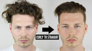 mens curly to straight hair tutorial how to style curly hair