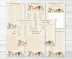 woodland forest animal baby shower games package 8 printable