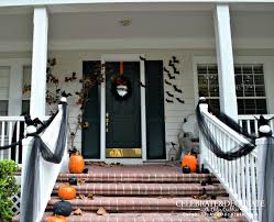 halloween front porch decoration with black crows