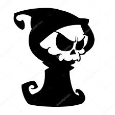 halloween cute background cartoon grim reaper with scythe isolated on a white background