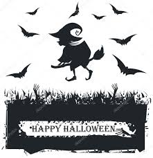 black and white halloween backgrounds halloween card with witch silhouette on white background u2014 stock