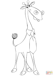 cartoon giraffe wearing a tie coloring page free printable