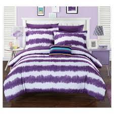 Home Design Products Lucas Striped Shibori Tie Dye Printed Comforter Set 7 Piece Twin