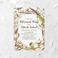 Retirement Function Invitation Card Cotton Flower Retirement Party Invitation Printable Autumn Cotton