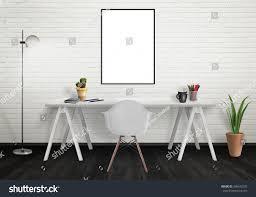 Office Desk Plants by Poster Frame Mock Office Interior Desk Stock Photo 380542735