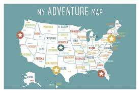 Wyoming Map Usa by Children Inspire Design Usa Personalized Adventure Map Paper Print