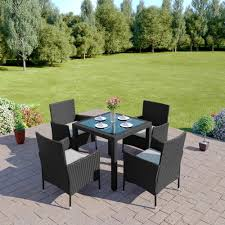 5 Pc Patio Dining Set - 5 piece rattan dining set with 4 cube chairs