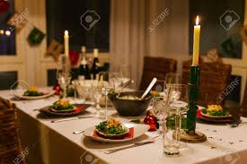 beautiful table setting for christmas party or new year