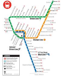 Metro Lines Map by Trolley San Diego Metropolitan Transit System