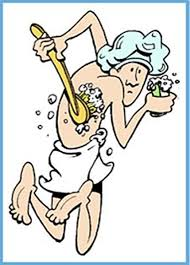 morning routine in space nasa cartoon man wears towel and shower cap as he scrubs his back with a brush