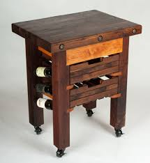 hand made walnut and cherry butcher block island wine rack by