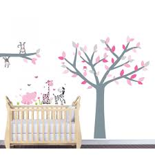 Bedroom Wall Decals Trees Pink And Grey Jungle Wall Stickers For Nursery With Tree Wall Art