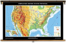 Unite States Map by Klett Perthes Simplified United States Physical Map On Spring Roller