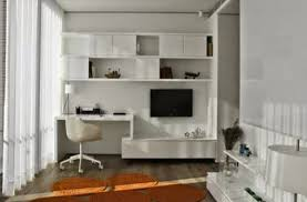 furniture white wooden floating corner desk connected by white