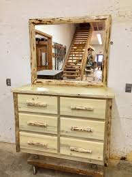 Pine Drawers Lodgepole Pine 6 Drawer Dresser And Mirror Lodgecraft Workshop