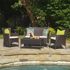 Wicker Patio Keter Corfu 4 Pc Wicker Patio Conversational Set With Cushions