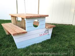 Plans For Wood Picnic Table by How To Build A Nautical Picnic Table For Bigger Kids A Houseful