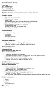 Job Resume Vet Receptionist Cover Letter For Dental With No Experience Pinterest
