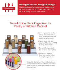 Best Spice Racks For Kitchen Cabinets Amazon Com Kd Organizers Tiered Spice Rack Organizer For Pantry