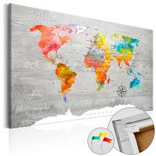 World Map Pinboard by Pinboard Image Printed On Canvas With Cork Backing Pin Board Map