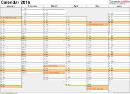 excel calendar 2016 uk 16 printable templates xls xlsx free