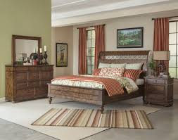 Klaussner International Southern Pines 4 Piece Whispering Pines Sleigh Bedroom Set In Pine