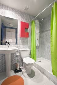 contemporary bright gray bathroom design and excellent shower