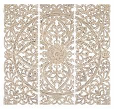 lotus wall panel set home wall decor wall art set of 3 carved wood