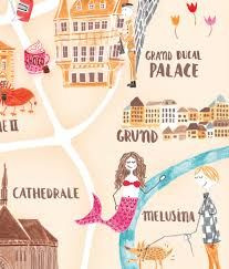 Luxembourg Map Luxembourg City Map Illustration