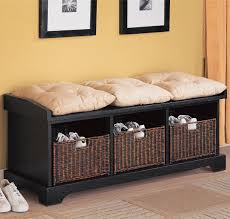 funiture black wooden bench cabinet with beige cushion and