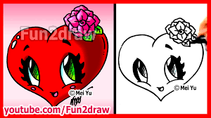 how to draw easy things heart with rose fun2draw valentine u0027s